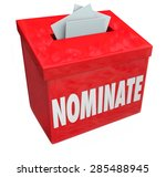nominate word on a red... | Shutterstock . vector #285488945
