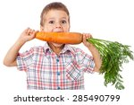 little boy biting the carrot ... | Shutterstock . vector #285490799