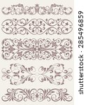 set vintage ornate borders. | Shutterstock .eps vector #285496859
