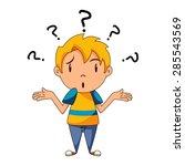 confused child  shrugging... | Shutterstock .eps vector #285543569