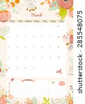cute calendar template for 2016.... | Shutterstock .eps vector #285548075