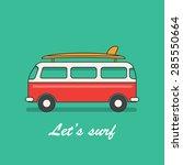 retro surf van with surf board  ... | Shutterstock .eps vector #285550664