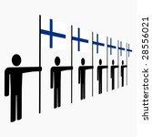 line of men holding finnish... | Shutterstock .eps vector #28556021