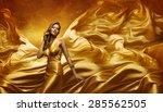 Fashion Model In Gold Dress ...