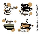 vector set of coffee cups icons ... | Shutterstock .eps vector #285564851