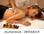 body scrub. beautiful blonde... | Shutterstock . vector #285568319