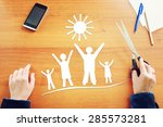 traditional family happiness.... | Shutterstock . vector #285573281