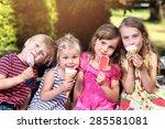 adorable children eating ice... | Shutterstock . vector #285581081