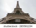 Close Up Eiffel Tower In Paris...