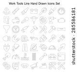 work tools line hand drawn icon ... | Shutterstock .eps vector #285586181