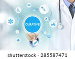 doctor hand touching curative... | Shutterstock . vector #285587471