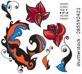 decorative floral set in vector ... | Shutterstock .eps vector #285592421