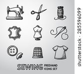 Set Of Handdrawn Sewing Icons ...