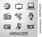 set of handdrawn media icons  ... | Shutterstock .eps vector #285596105