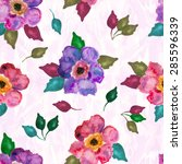 seamless pattern with flowers... | Shutterstock .eps vector #285596339