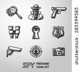 set of spy handdrawn icons  ... | Shutterstock .eps vector #285599585