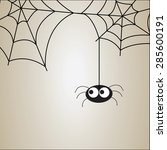 cute spider and webs over brown ... | Shutterstock .eps vector #285600191