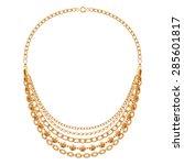 many chains golden metallic... | Shutterstock .eps vector #285601817
