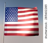 usa flag in blue sky  3d render ... | Shutterstock . vector #285602285