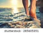 closeup of a man's bare feet... | Shutterstock . vector #285605351