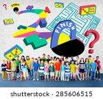 kids maze puzzle game fun... | Shutterstock . vector #285606515