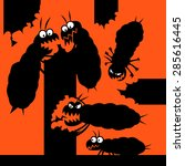 silhouettes of cartoon termites ... | Shutterstock .eps vector #285616445