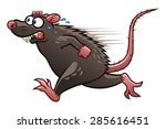 Cartoon Scared Rat Escapes Fro...