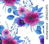 watercolor seamless floral... | Shutterstock .eps vector #285621491