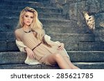 beautiful blonde woman with... | Shutterstock . vector #285621785
