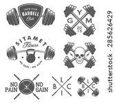 set of vintage gym emblems ... | Shutterstock .eps vector #285626429