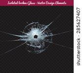 vector broken glass. isolated... | Shutterstock .eps vector #285627407