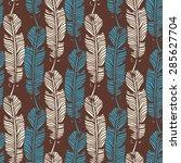 birds feathers boho seamless...   Shutterstock . vector #285627704