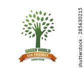 eco green hand  concept logo | Shutterstock .eps vector #285630215