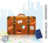 travel suitcases  international ... | Shutterstock .eps vector #285640691