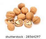 Close-up of a walnut against white background - stock photo