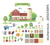 flat garden set. elements for... | Shutterstock . vector #285655895
