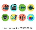 set of flat icons on video... | Shutterstock .eps vector #285658214