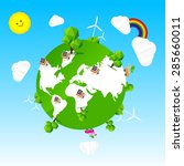 ecology world tree sun cloud...   Shutterstock .eps vector #285660011