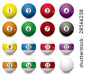 collection of pool balls... | Shutterstock . vector #28566238