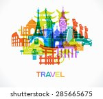 abstract design with famous... | Shutterstock .eps vector #285665675