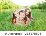 mother and her kids are having...   Shutterstock . vector #285675875