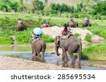 group tourists to ride on an... | Shutterstock . vector #285695534