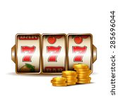 casino slot machine with coins. | Shutterstock . vector #285696044