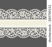 white lace. horizontal ribbon.... | Shutterstock .eps vector #285700121