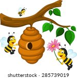 bees cartoon holding flower and ...