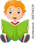 kid reading a book | Shutterstock .eps vector #285746129
