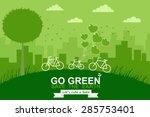 Bike On Mountain. Green City....