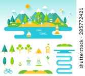 lake  beach  woods and... | Shutterstock .eps vector #285772421