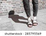 model wearing black and white...   Shutterstock . vector #285795569