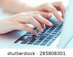 female hands or woman office... | Shutterstock . vector #285808301